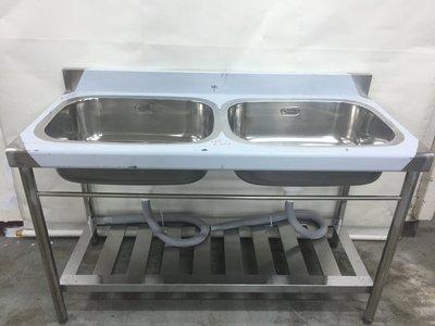 【吉林二手貨G0400007】雙口水槽/流理臺 營業用工作台 白鐵水槽