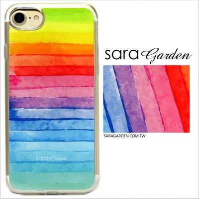 客製化 軟殼 iPhone 8 7 6 6S Plus 手機殼 保護套 全包邊 掛繩孔 水彩漸層彩虹 Q1231003