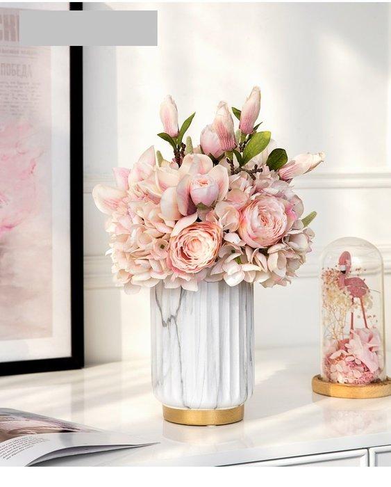 法式餐桌藝術  歐洲 大理石紋路陶瓷花瓶 花器