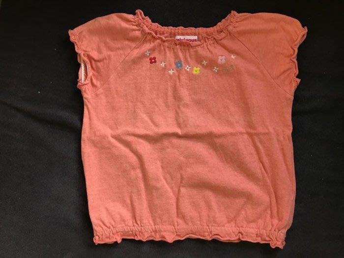 日本製真品 Miki house 刺繡小花橘色可愛上衣-110cm-低價起標