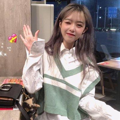 秋季女裝韓版學院風時尚寬鬆百搭針織衫無袖背心短款馬甲上衣外套