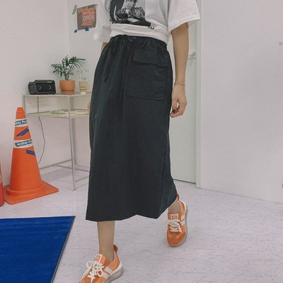 bibi_korea 正韓 綁帶前口袋開叉長裙【 BH8763 】
