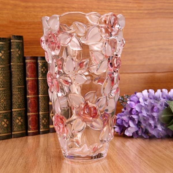 水晶玻璃透明玫瑰花瓶擺件客廳插花富貴竹瓶落地花瓶大號時尚家居