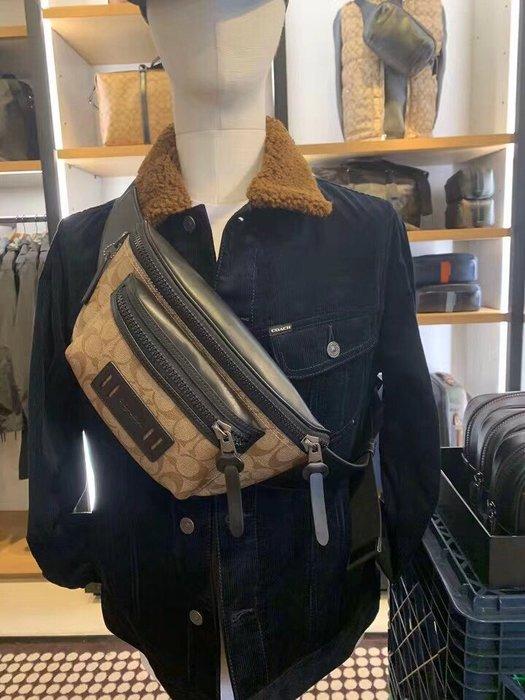 COACH 78727 新款男士胸包 PVC配牛皮經典C字底紋腰包 斜挎包 潮流時尚