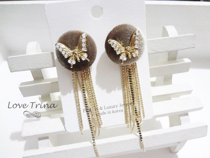 【Love Trina】正韓。8945-0109 超氣質蛋白石蝴蝶+金屬流蘇垂墜感針式耳環--鋼針(1色)