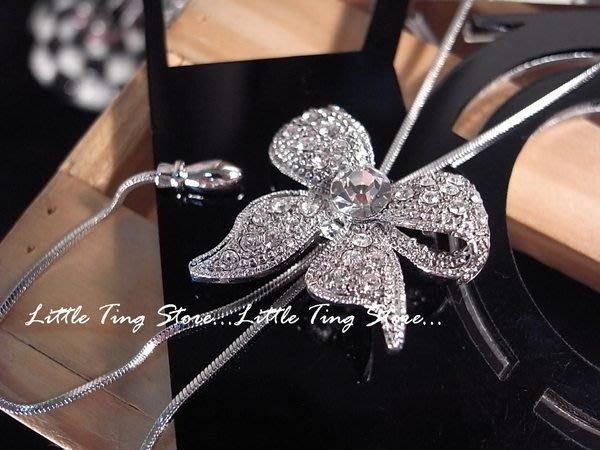 Little Ting Store 韓國 Y字鏈上下移動蝴蝶結項鍊閃亮水晶鑽短項鍊鎖骨頸鍊