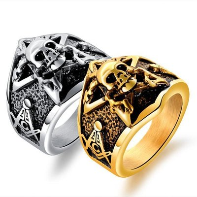 《 QBOX 》FASHION 飾品【R100N554】精緻個性共濟會五角星骷顱頭鑄造鈦鋼戒指/戒環(二色)