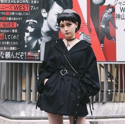 【黑店】原創設計 訂製款羊毛混紡愛心腰帶羊絨大衣 復古暗黑系個性大衣 個性穿搭百搭保暖大衣SG155