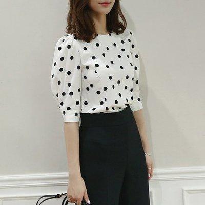 韓國黑白波點寬鬆圓點白色波點雪紡襯衫