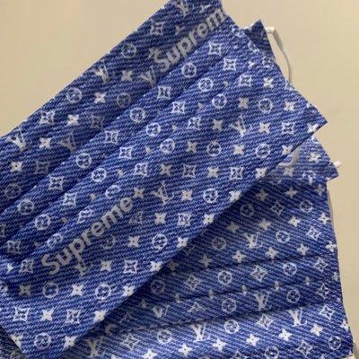 [韓娜]特價ㄧ週到11/11丹寧仿牛仔布紋老花收藏款 L*/ &V字樣成人平面口罩3片ㄧ組ㄧ次性口罩非醫療(搜尋🔍韓娜口罩)絕美中之絕版款等您來收藏衛生品