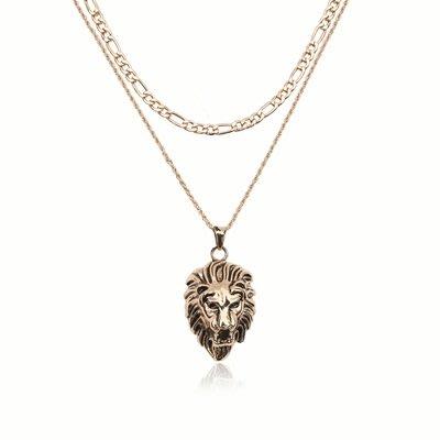 項鍊 合金 鎖骨鍊-雙層獅子頭吊墜情人節聖誕節禮物女飾品73uz33[獨家進口][巴黎精品]