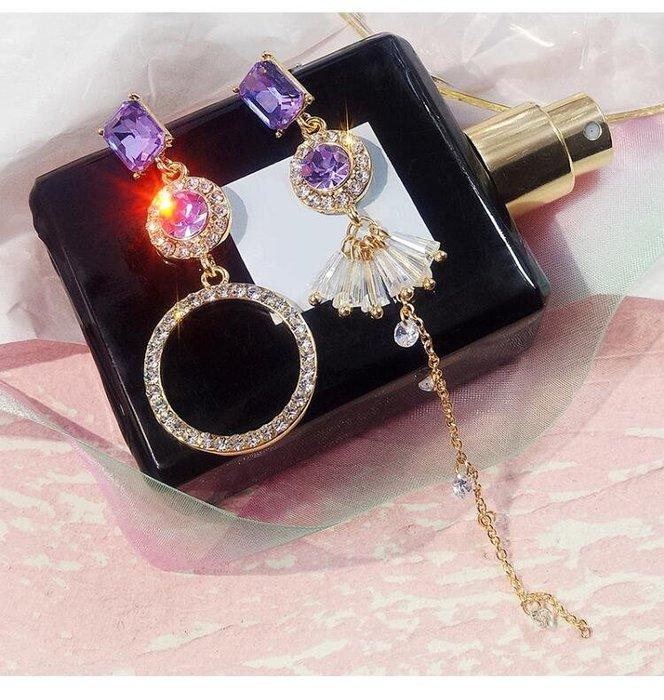 日韓時尚不對櫬女用銀針防過敏水鑽耳環女防過敏生日禮物情人節禮物