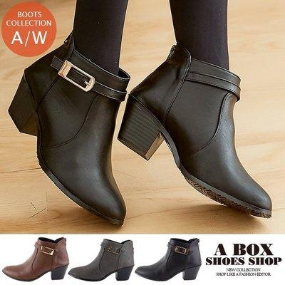 格子舖*【KTW760】5.5CM粗中跟 短筒靴子 短靴 側拉鍊穿拖 時尚素面皮革 MIT台灣製 3色