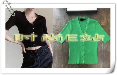 時尚E站【~SSEZ~】971080237 時尚MAJ坑條冰絲V領針織開衫  S M L   黑,綠