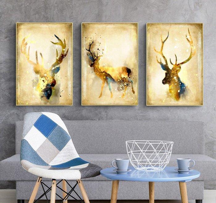 三幅一組油畫布 黃金發財鹿 畫芯/畫布/30X40☺暖暖屋☺傢居藝術館