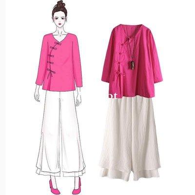 [Margot]時尚女裝 棉麻盤口茶服套裝 2018秋裝寬松復古大碼中國風茶藝服裝