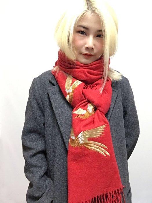 【鳳眼夫人】現貨 原創刺繡飛鳥羊絨混紡流蘇大披肩 圍巾 *四色