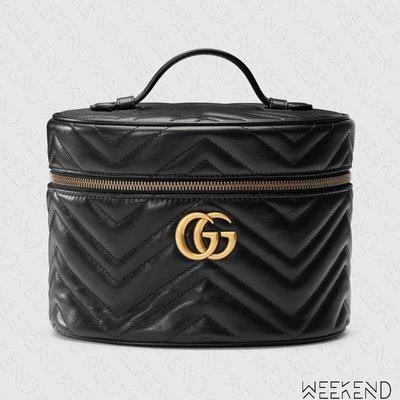 【WEEKEND】 GUCCI GG Marmont Cosmetic Case 小款 手提 化妝包 黑色 611004