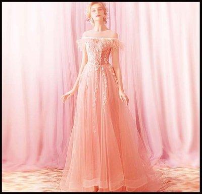 哆啦本鋪 天使的嫁衣 輕熟風情 柔粉色新娘婚紗敬酒服生日宴會晚禮服D655