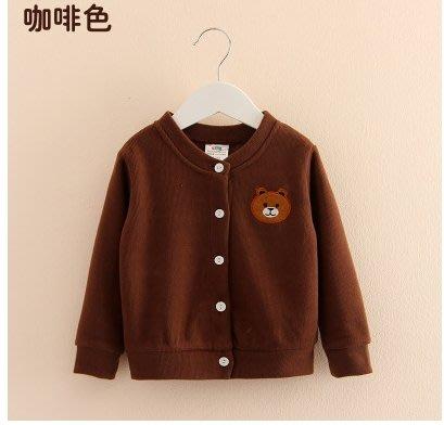 蜜寶貝*-【現貨-快速出貨】長袖外套上衣1190 咖色小熊 尺寸90-120CM-006
