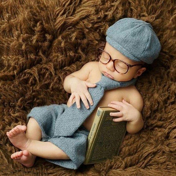 現貨~嬰兒照 0-6M適用 百天照 兒童攝影服裝寶寶拍照針織手工毛線服飾小紳士服裝 嬰兒造型服飾318