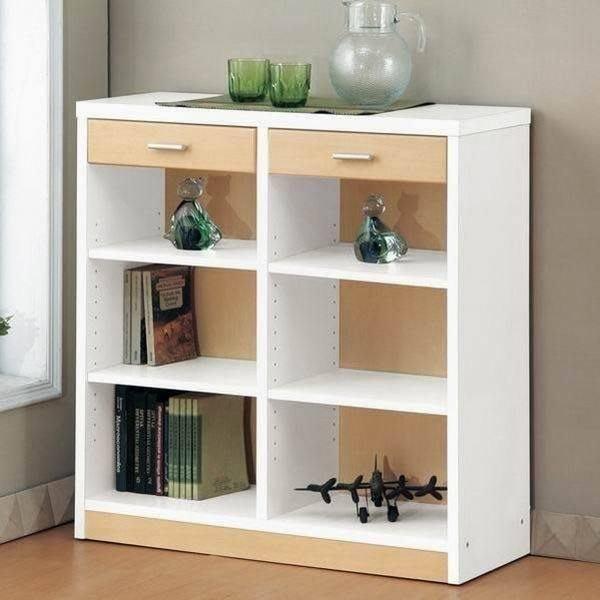 中華批發網:DL-9090-WH-六格二抽屜-心情書櫃-(木紋+白色)//EASY HOME/鏡面烤漆[特價檔]