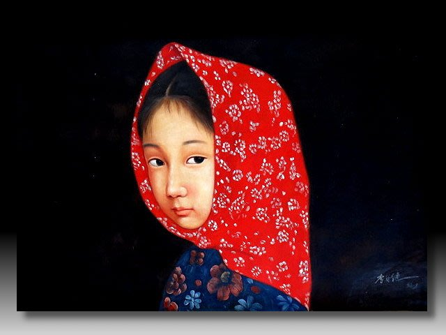 【 金王記拍寶網 】U1376 中國近代油畫名家 李自健款 手繪油畫一張 少女 ~ 罕見稀少 藝術無價~