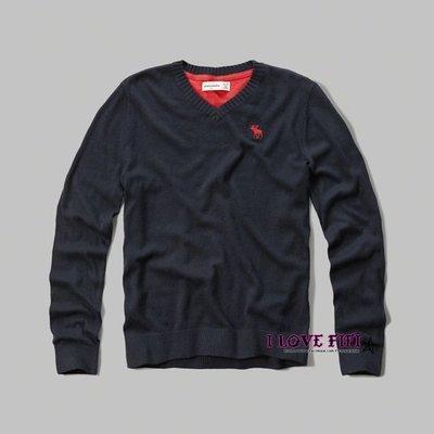 ❤美國專櫃帶回真品❤a&f童裝abercrombie&fitch kids guy麋鹿logo V領針織毛衣-深藍色