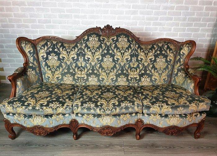 【卡卡頌  歐洲古董】💐Elegant~法國老件 胡桃木 優美 立體花卉絨 法式 三人沙發 古董椅 so0036 ✬