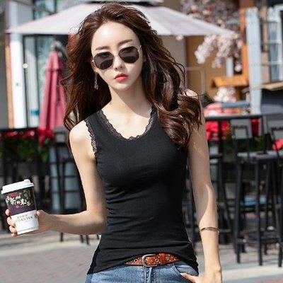 ZIHOPE 黑色緊身短款背心女2019春夏季女士純棉蕾絲吊帶無袖打底心機上衣ZI812