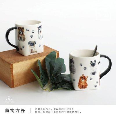 (台中 可愛小舖)動物 方杯 狗 貓 黑提把 馬克杯 茶杯 湯杯 下午茶 陶瓷