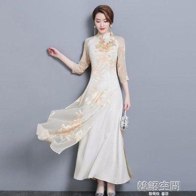 中國風復古女裝中式修身改良旗袍奧黛上衣茶服洋裝