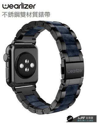 美國授權【Wearlizer】Apple Watch 3/4/5 38/40/42/44mm 不銹鋼複合錶帶 黑豹黑