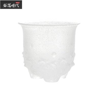【時代銀器】鑲銀蓮花小茶杯海浪三足杯古法冰凍燒琉璃杯茶具銀茶杯999