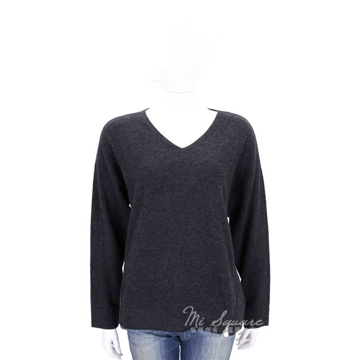 米蘭廣場 ALLUDE 深灰色側拉鍊設計羊毛針織上衣(70%WOOL) 1710097-11