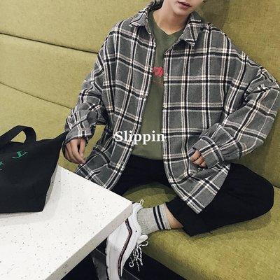 【Slippin】 免運秋季新款男生襯衫潮流港風韓版寬松格子青少年帥氣長袖襯衣