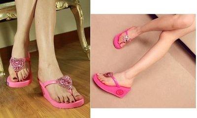 BCBG WEDGE 愛心水鑽高跟楔型夾腳拖鞋(三雙一起賣……粉紅+黑+土耳其藍)