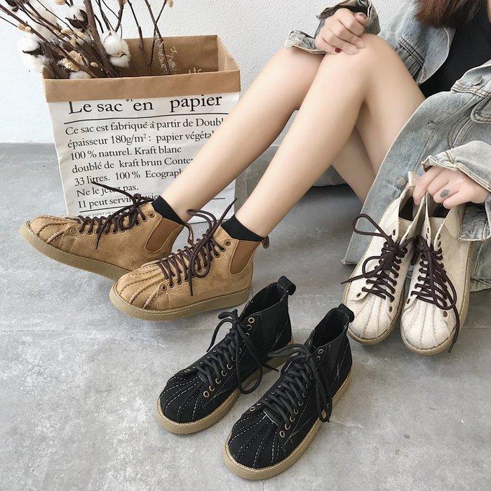 999短靴 靴子 馬丁靴 牛津靴  春秋歐美高幫貝殼頭系帶厚底休閑百搭學生馬丁靴女英倫風短靴