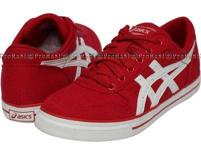 鞋大王asics H900N-2301 紅色 帆布 AARON 休閒運動鞋(22.5公分)【免運費,加贈襪子】822A