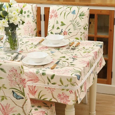 SUNNY雜貨-美式花鳥餐桌布臺布圓方桌套椅套裝家用蓋布布藝現代簡約#防塵罩#家居用品