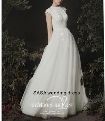 *全新~sasa婚紗禮服~高級紗質輕婚紗 可換色