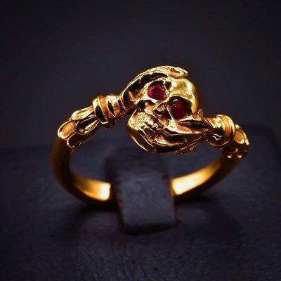 韓國 Penetrate 骷髏紅寶石 純銀鍍金戒指
