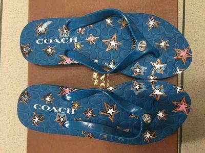正品 COACH超顯眼藍色星星夾腳涼鞋 最後2雙 請把握 預先為夏日打扮作準備 MK ZARA