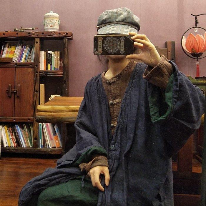 【子芸芳】原創個性小眾禪意手工純亞麻色織大袍雙層