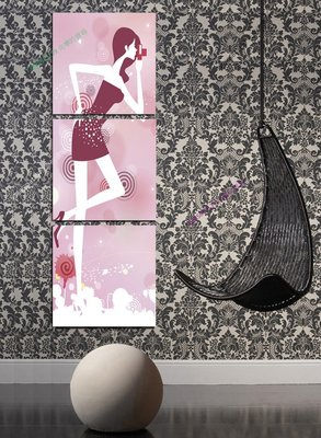 【60*60cm】【厚2.5cm】卡通女郎-無框畫裝飾畫版畫客廳簡約家居餐廳臥室牆壁【280101_298】(1套價格)