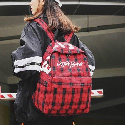 【洛本】古著書包雙肩包日版超酷女冬新款潮格子帆布背包ins超火街拍B10