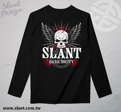 SLANT Dark Socity 黑暗的社會 骷髏翅膀 SKULL T恤 長袖T恤 客製T恤
