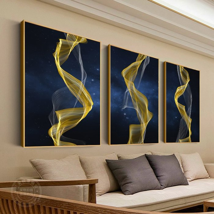 新中式抽象金色線條煙霧裝飾畫酒店現代藝術大幅掛畫玄關客廳壁畫(6款可選)