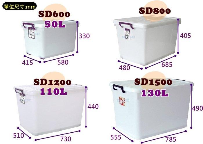 水順 滑輪整理箱 110L D1200 MIT 收納箱 特大 儲水箱 整理箱 加蓋 塑膠箱【H11002405】塔克百貨