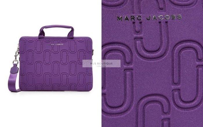 【MJS BOUTIQUE】Marc Jacobs 13吋 紫色經典LOGO尼奧普林筆記型電腦包 / 手提包 / 肩背包